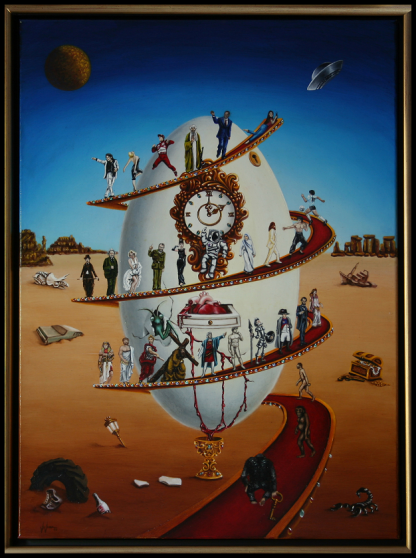 Eggvolution Oil Painting by Vivian Campillo