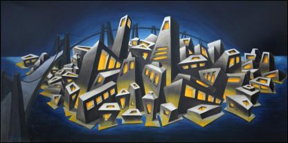 Metropolis Oil Painting by Vivian Leila Campillo