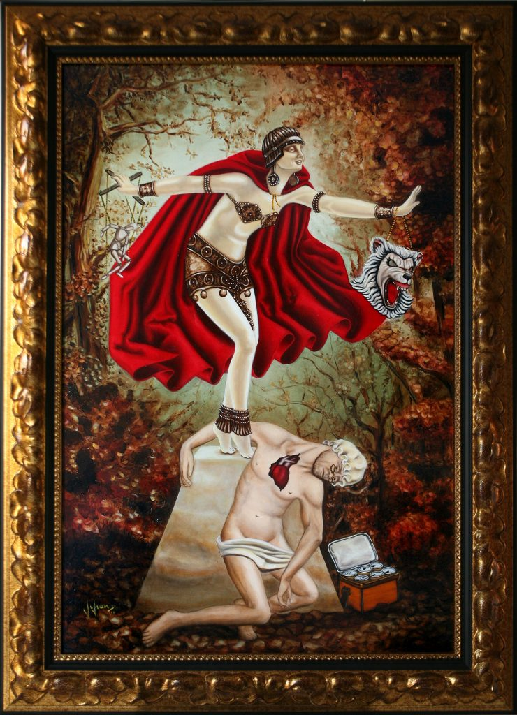 Vivian Leila Campillo oil painting The Little Red Cryselephantine